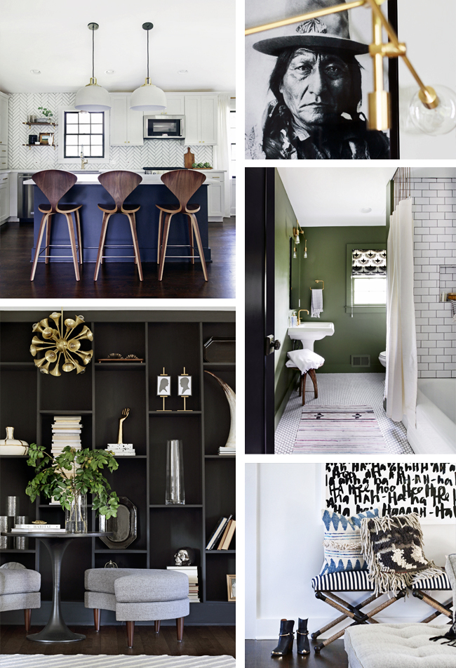Collage of ProjectFamJam Spaces. Kitchen, Dining Room, Living Room and Guest Bathroom.