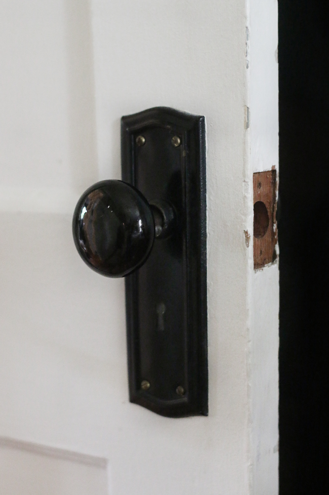 Vintage Black Door Knobs.  Missing Latch.