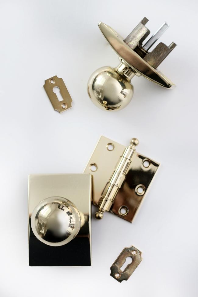 Brass Door Knobs, backplates and Key escutcheons.