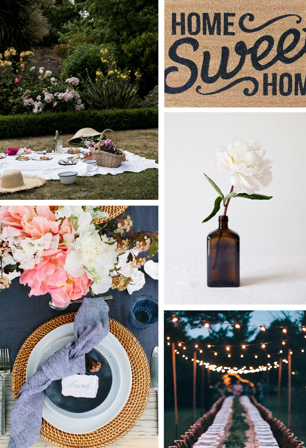 Southern House Warming Party Inspiration Images. Picnic. Table Settings. String Lights.