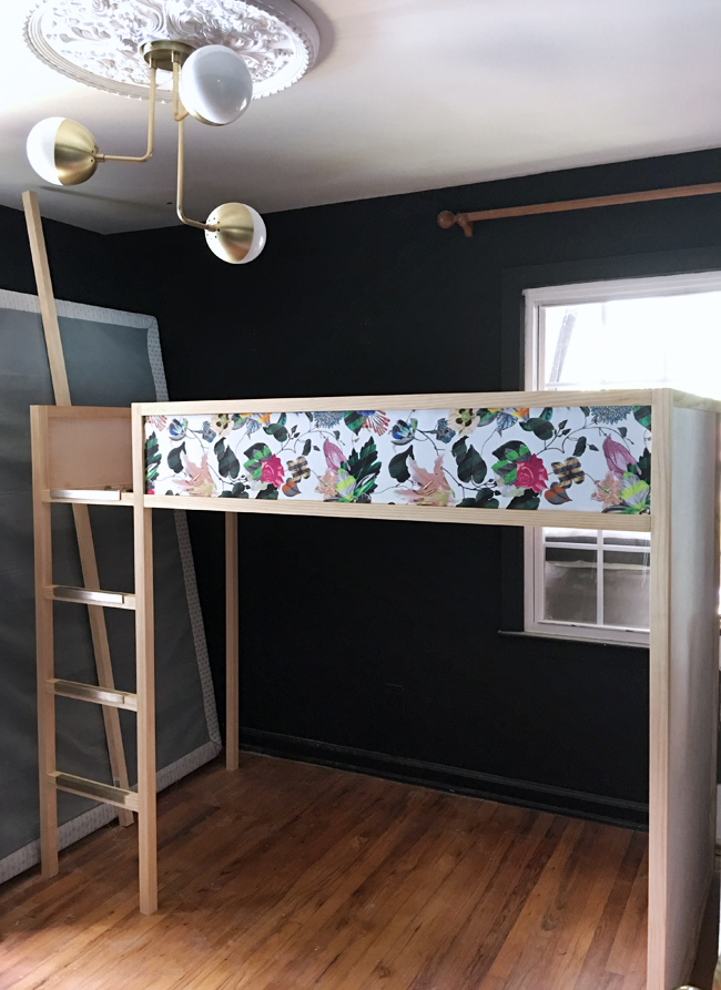 DIY Loft Bed with Floral Fabric
