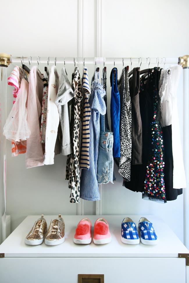 lucite garment rack