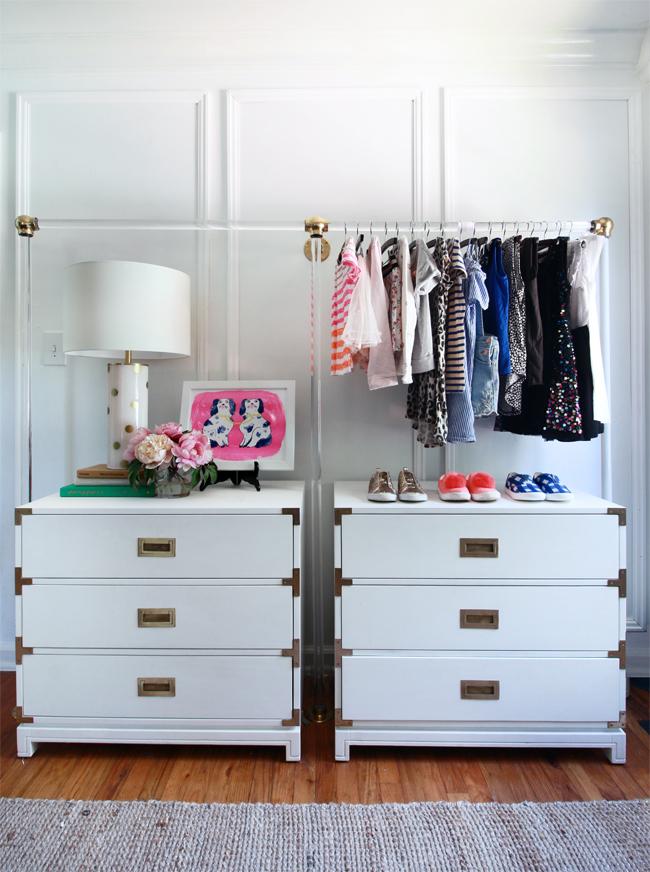 lucite garment rack, campaign dresser