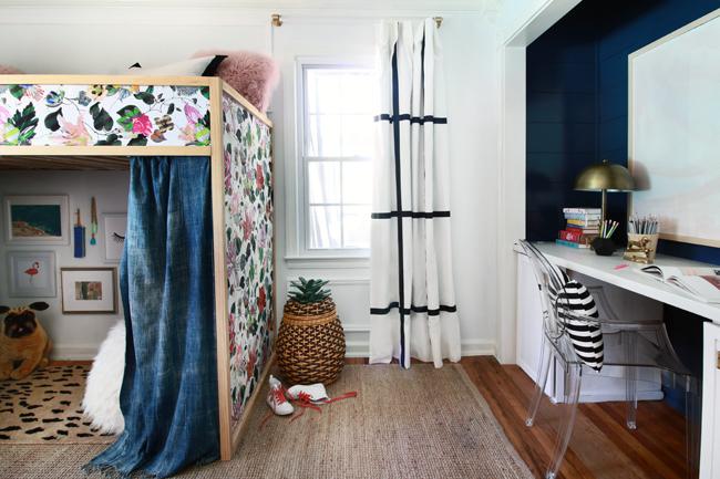 loft bed, desk