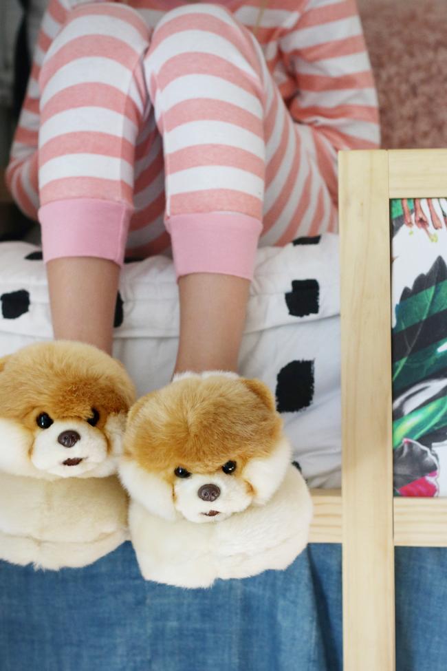 boo slippers on little girl